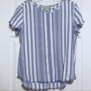 Anthropologie Cloth & Stone Striped Raw Hem Tee